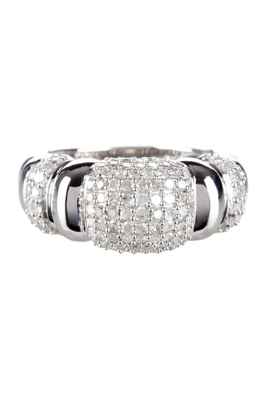 Pave Diamond Ribbed Ring - 1.00 ctw