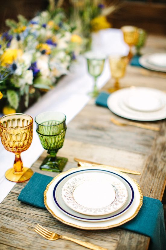 Gold, indigo and green. Van Gogh Inspired Shoot. Photography by birdsofafeatherph..., Event Design + Planning by orangeblossomspec..., Floral Design by peonyandplum.com, Read more - www.stylemepretty...