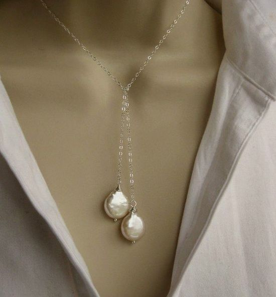 Freshwater pearl sterling silver lariat necklace