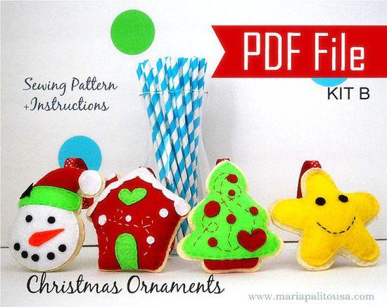 PDF DIY Christmas Ornament set of 4 Felt Sewing by Mariapalito, $12.00