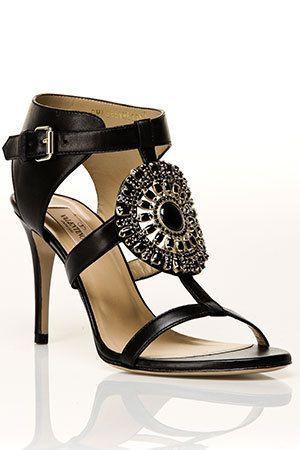 Valentino  Stone Sandal in Black
