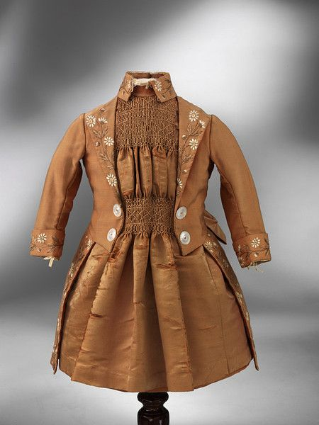 Victorian silk (slightly shattered), handsmocked ensemble ... c.1890