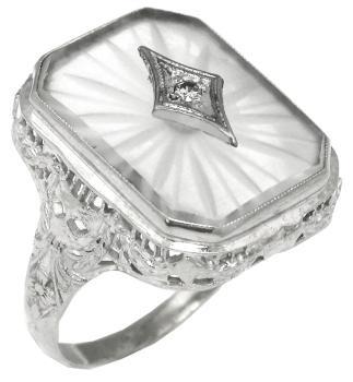 Edwardian Carved Crystal 14k White Gold Ring