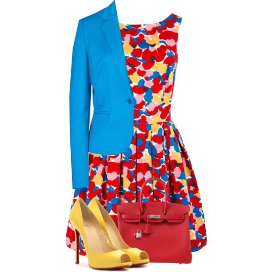 """Blue, Yellow, and Red"" by fashion-766 on Polyvore"
