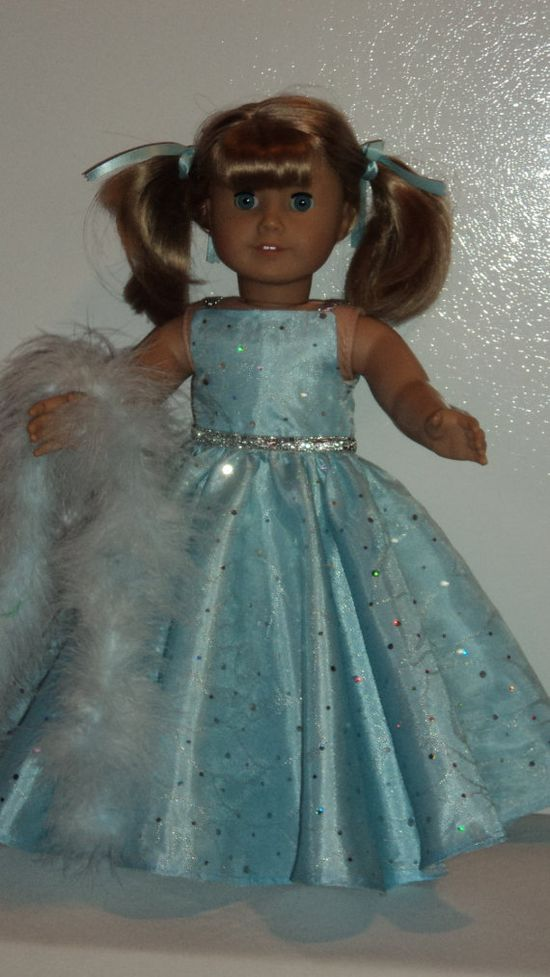 American Girl doll clothes  Blue Sequin Gown and by susiestitchit, $17.00