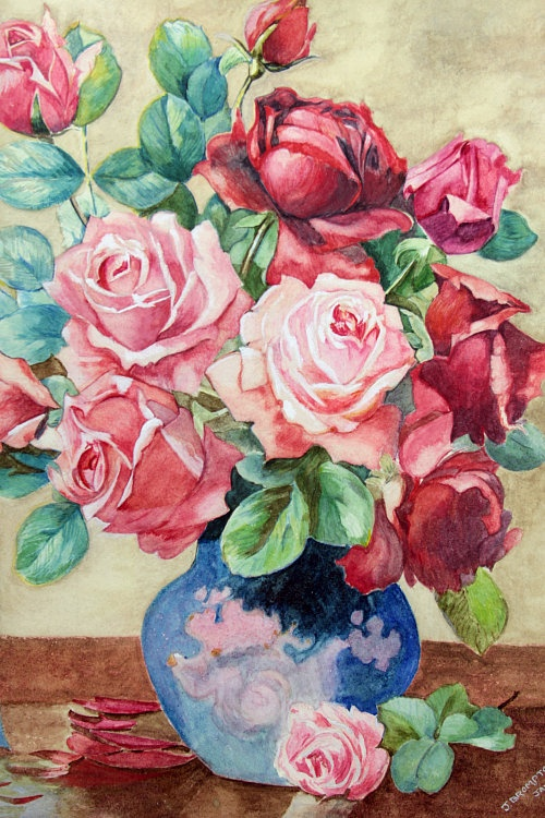Vintage Home - Pink Roses in a Blue Vase Painting.