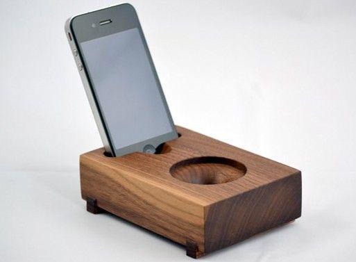 Koostik Mini Koo iPhone Speaker.  Completely acoustic: no electricity involved.