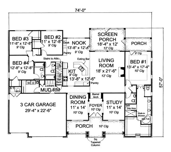 First Floor Plan of Traditional   House Plan 66460 - Combine bedrooms 2, 3, & 4 into a master suite and add 4 bedrooms upstairs