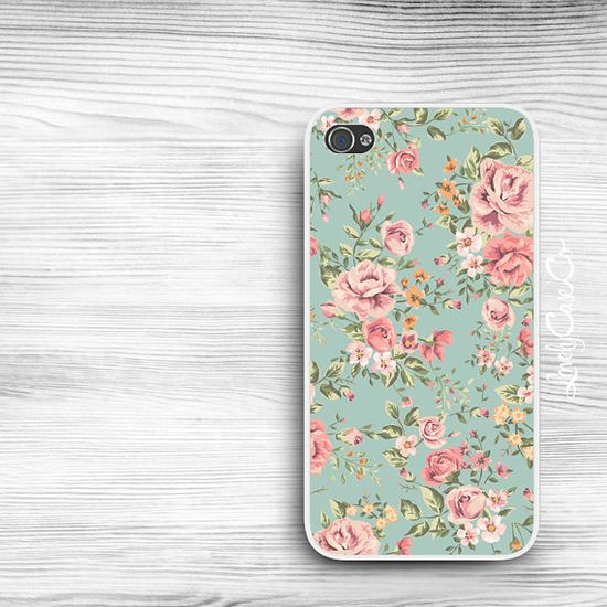 Floral iPhone Case - iPhone 4 Case, iPhone 4s Case, or iPhone 5 Case Cute Cell Phone Case