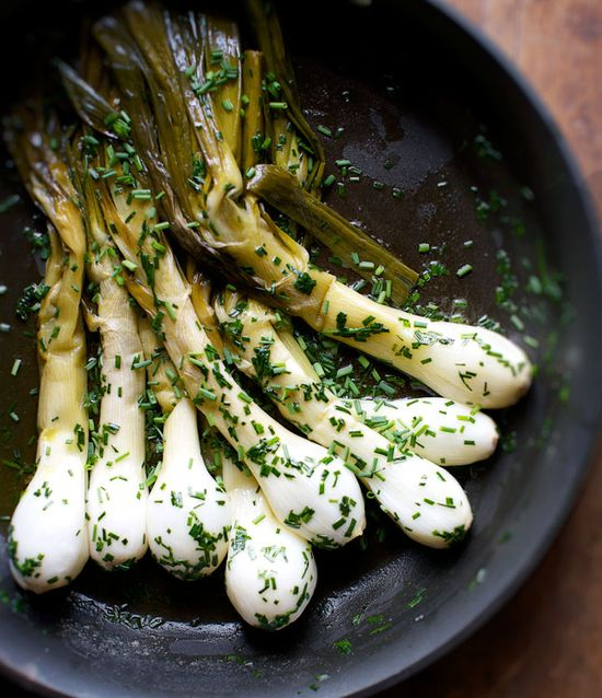 Butter-Braised Spring Onions with Lots of Chives.