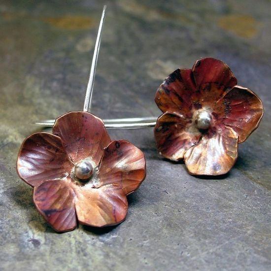 Copper flower earrings - Autumnflower by LavenderCottage on Etsy
