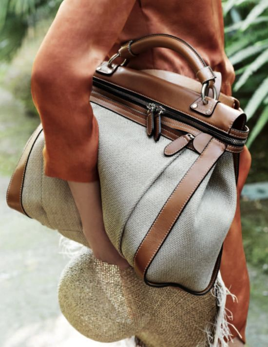 tan leather and linen bag
