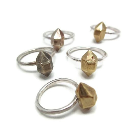 Stacking Herkimer diamond ring in bronze & silver by graceandvine