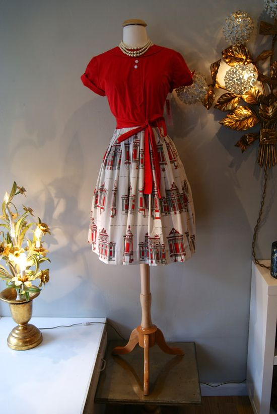 1950's Dress // Vintage 50's Swirl Novelty Wrap by xtabayvintage, $125.00