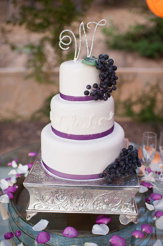 Simple white wedding cake with grape accents.  Wedding @ Saluti Cellars Winery (photo by Quinn Photography)