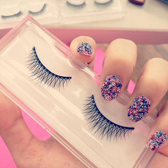micro nail beads or caviar nails :)) lovely #nailart #nails