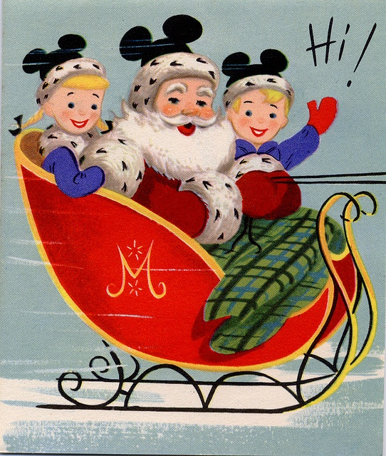 A delightfully cute vintage Disney Mousketeers Christmas card. #vintage #Disney #Christmas #card #Santa