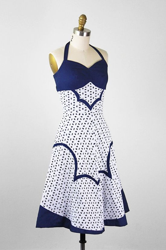 vintage 1950s dress / 50s dress / Blue and White by RococoVintage, $268.00