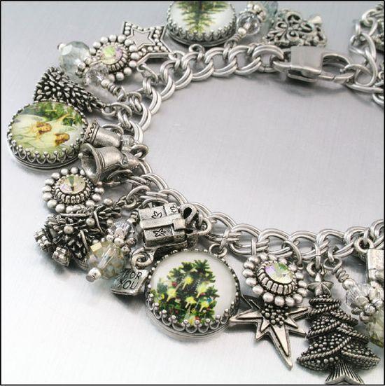 """Christmas Jewelry, Silver Charm Bracelet, """"Oh Christmas Tree"""" Jewelry, Christmas Charm Bracelet, Holiday Jewelry"""