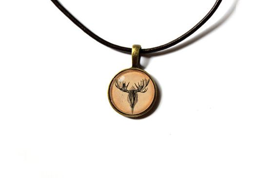 Moose pendant Cervidae jewelry Wild animal charm by newwoodland, $12.00