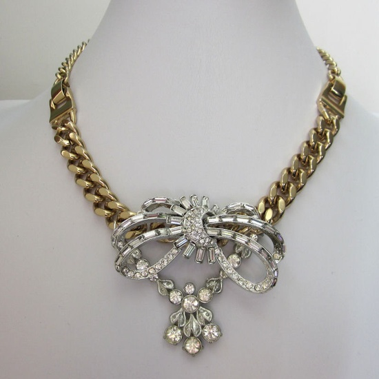 Vintage Mixed Metal Assemblage Rhinestone Necklace - Silver, Chunky Gold Chain Party Repurposed Jewelry OOAK Handmade JryenDesigns. $93.00, via Etsy.
