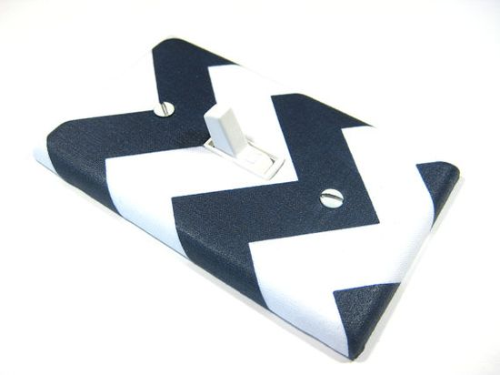 White and Navy Blue Chevron RBM Light Switch Cover by ModernSwitch, $6.00