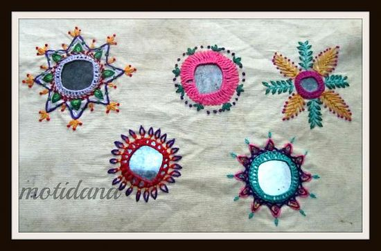 Hand embroidery mirror work designs