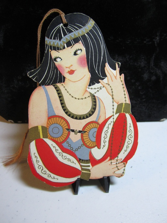 1920's Art Deco Die Cut  bridge tally card egyptian cleopatra flapper girl elaborately dressed gold gilded american colortype company.