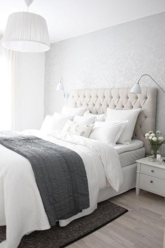 pretty bedroom-headboard and wallpaper
