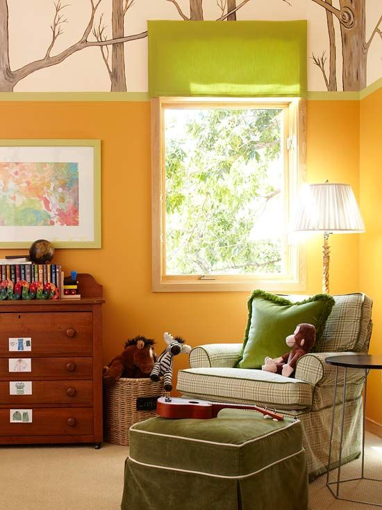 A room just for little boys? I think not. I would love this forest themed room.