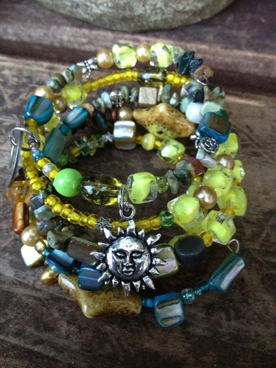 Laugh and Play Everyday: Five Wrap Beaded Memory Wire Bracelet with Metal Stamped Charm on Etsy, $40.00