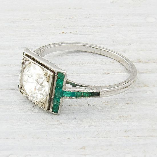 1.20 Carat Diamond and Emerald Vintage Engagement Ring from Erstwhile Jewelry Co.