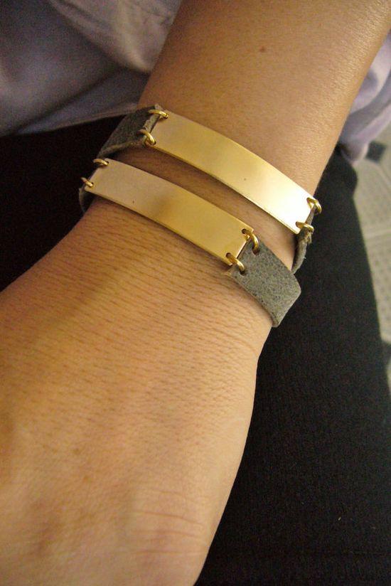 Leather Jewelry Wrap Bracelet  Grey Blue Leather and by zozichic, $89.00