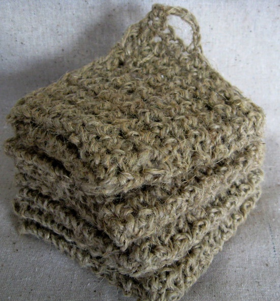 Crocheted Hemp Spa/Wash Cloth Sustainable and Eco Friendly.