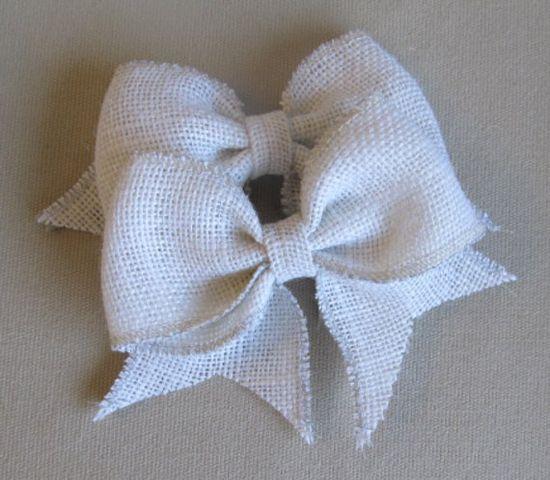 white burlap handmade bow