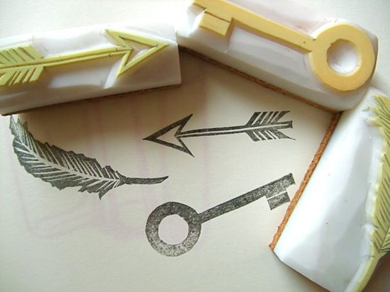 treasure hand carved rubber stamp. hand carved stamp. key/feather/arrow. set of 3. mounted.. $20,00, via Etsy.