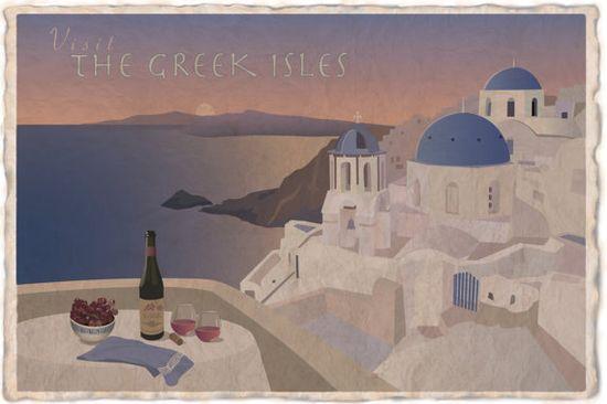 Vintage Travel Poster, Original Artwork, (Greece) via Etsy