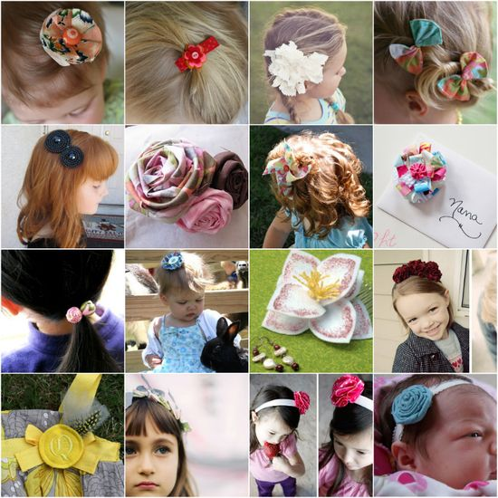Wonderful collection of hair accessory tutorials.