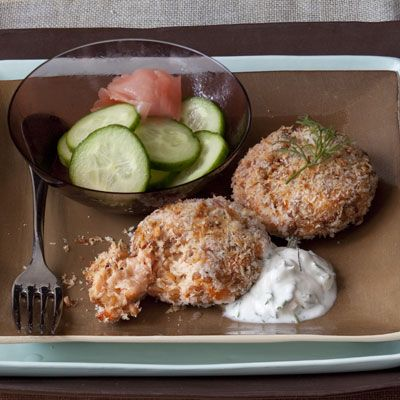Healthy Easter Recipes - Salmon cakes with a tangy dill sauce - bestrecipesmagazi...