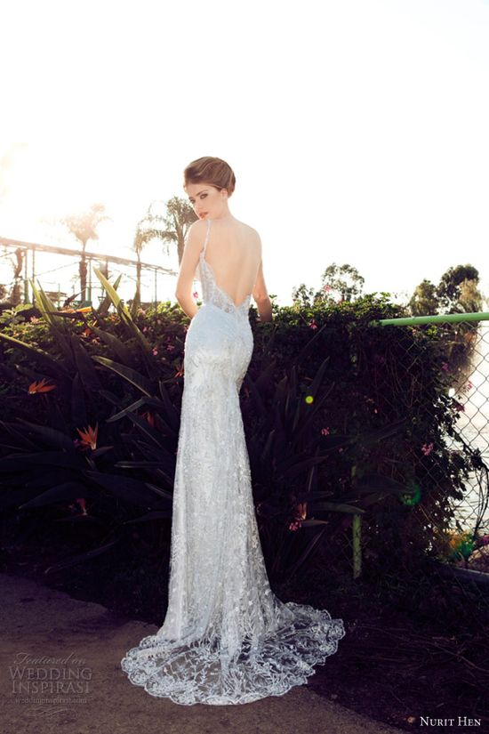 nurit hen wedding dresses 2013 sheath straps plunge open back