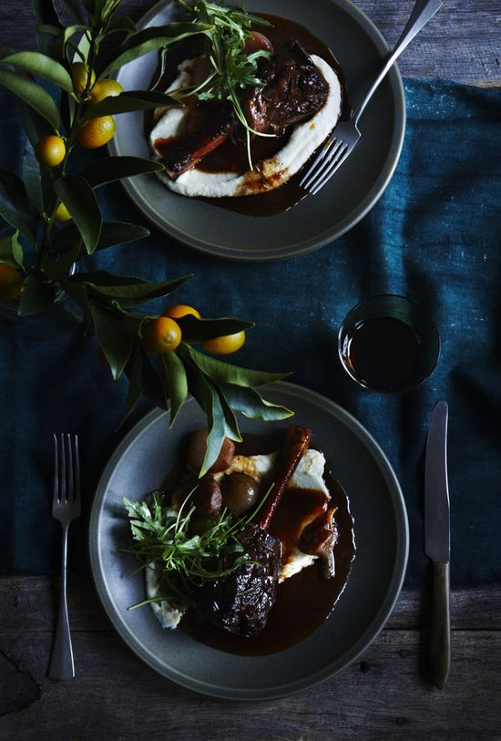 Slow-Roasted Balsamic Lamb Shanks with Cauliflower Puree