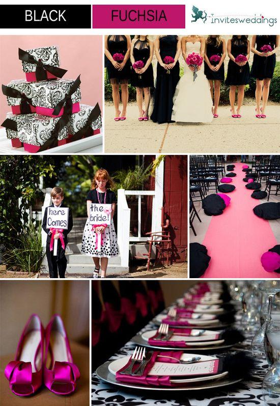 black and fuchsia wedding ideas