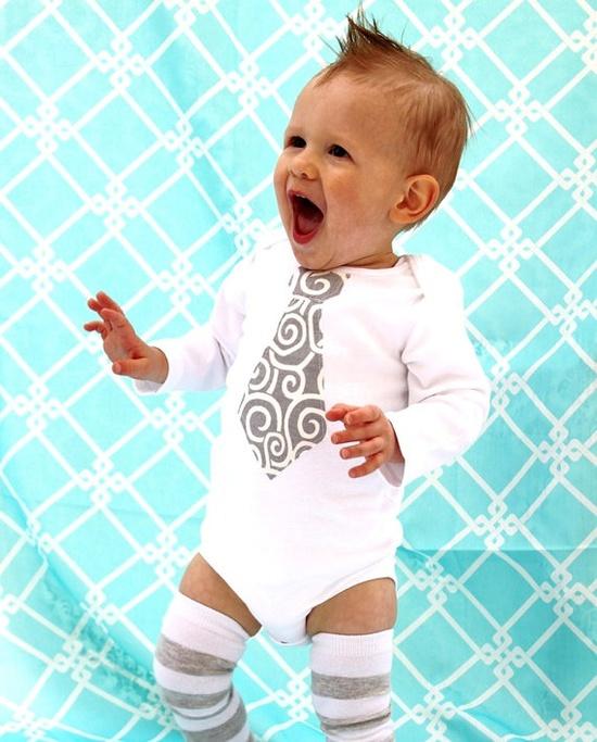 Baby boy tie onesie and leg warmers