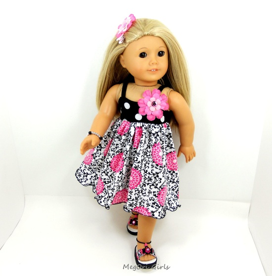 "American Girl 18"" doll swing dress and sandals. So cute. All handmade."