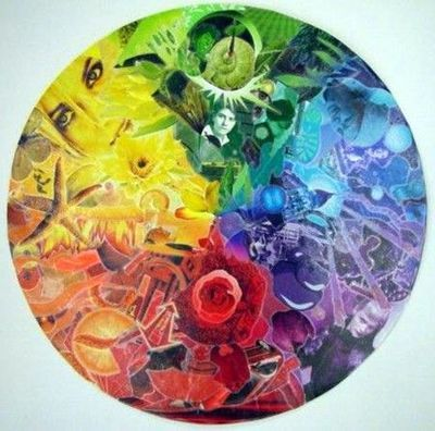Magazine color wheel collage