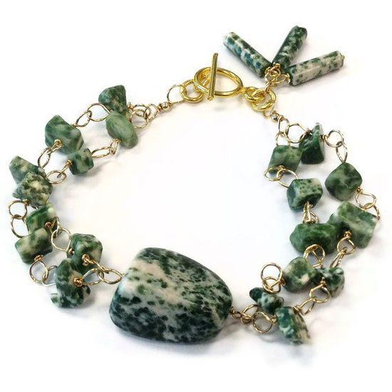 Green Bracelet Double Strand Gold Jewelry Tree by jewelrybycarmal, $48.00