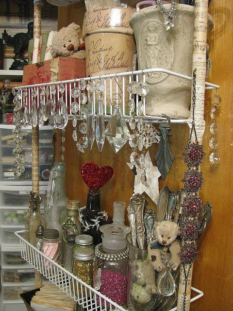 great idea to make an ugly organizer work in my shabby chic room