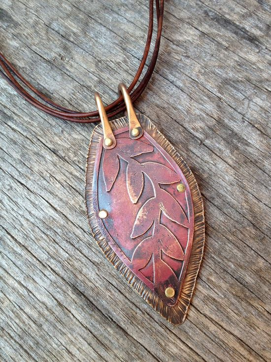 Mixed Metal Etched Pendant.