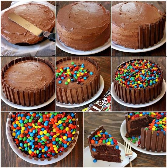 Mms kit kat cake. This would be good with yellow cake inside forecipes.blogspo...