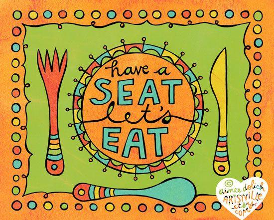 Let's Eat! 8x10 doodle print by Artsyville.